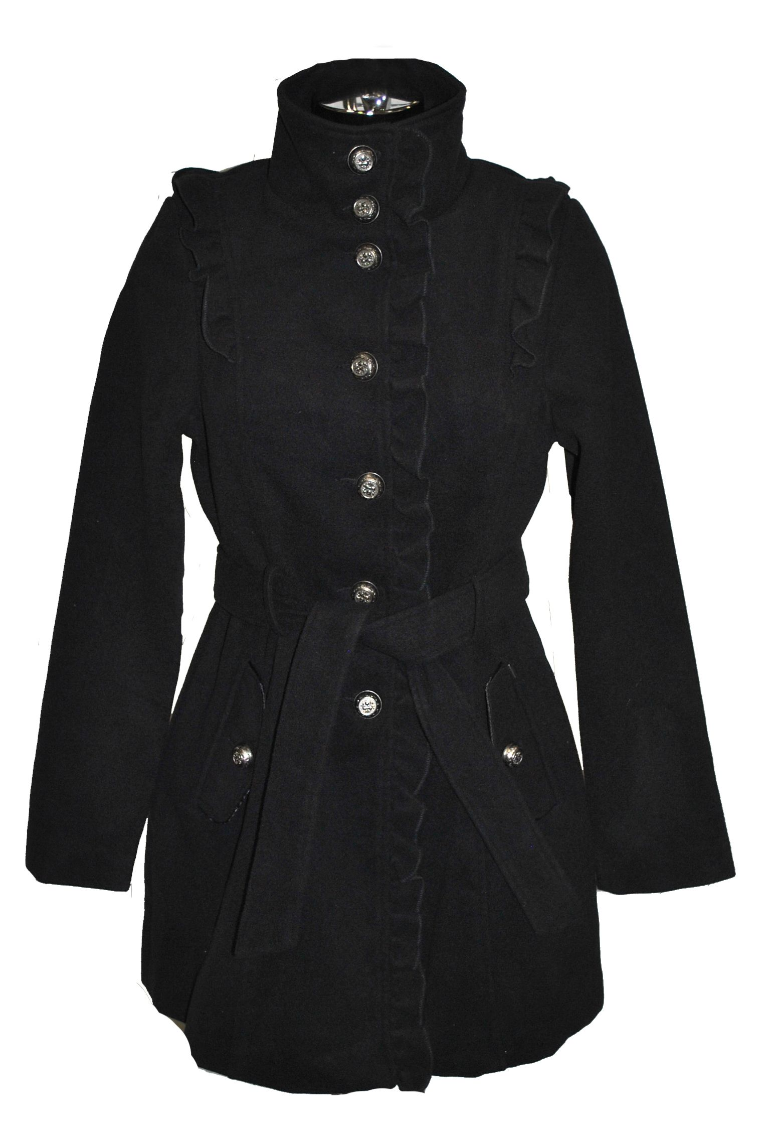 Black Military Style Coat with Frills